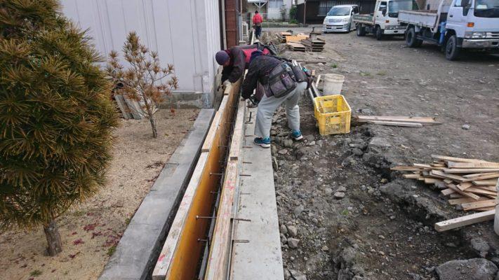 鳴門市撫養町斎田、ブロック塀基礎工事
